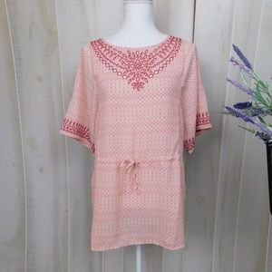 One September Pink Embroidered Sheer Tunic
